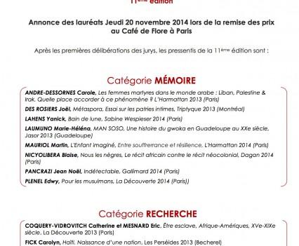 Annonce des lauréats Jeudi 20 novembre 2014 lors de la remise des prix au Café de Flore à Paris-1