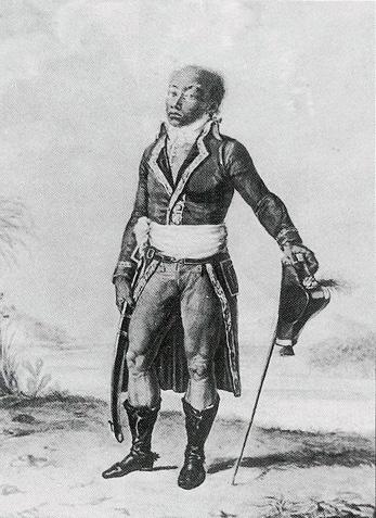 Toussaint Louverture lors de son débarquement à Brest en 1802, gravure de Pierre-Charles Baquoy, 1802